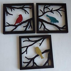 Metal Wall Art Decor | Birds on Branches | 3 piece